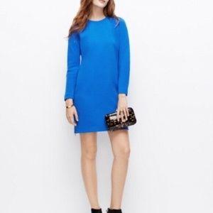 Ann Taylor Double Zipper Shift Dress Blue Career